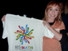 Kari Byron of MythBusters showing off a MoMath T-shirt