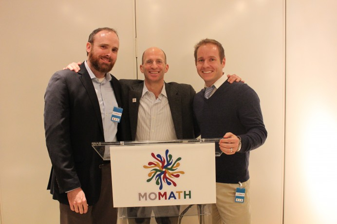 Patrick Honner (runner-up), Saul Rosenthal (Trustee and Sponsor), and Scott Goldthorp (winner) pose for a photo at the announcement of the winner of the first annual Rosenthal Prize for Innovation in Mathematics Teaching.