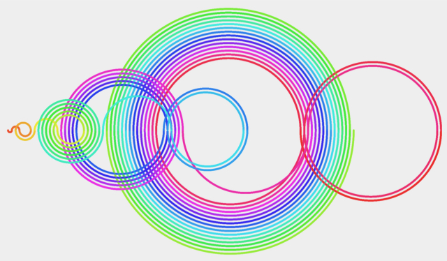 Multicolored circular design