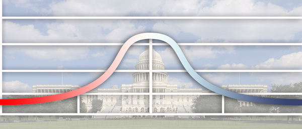 U.S. Capitol with red/blue bell curve overlay