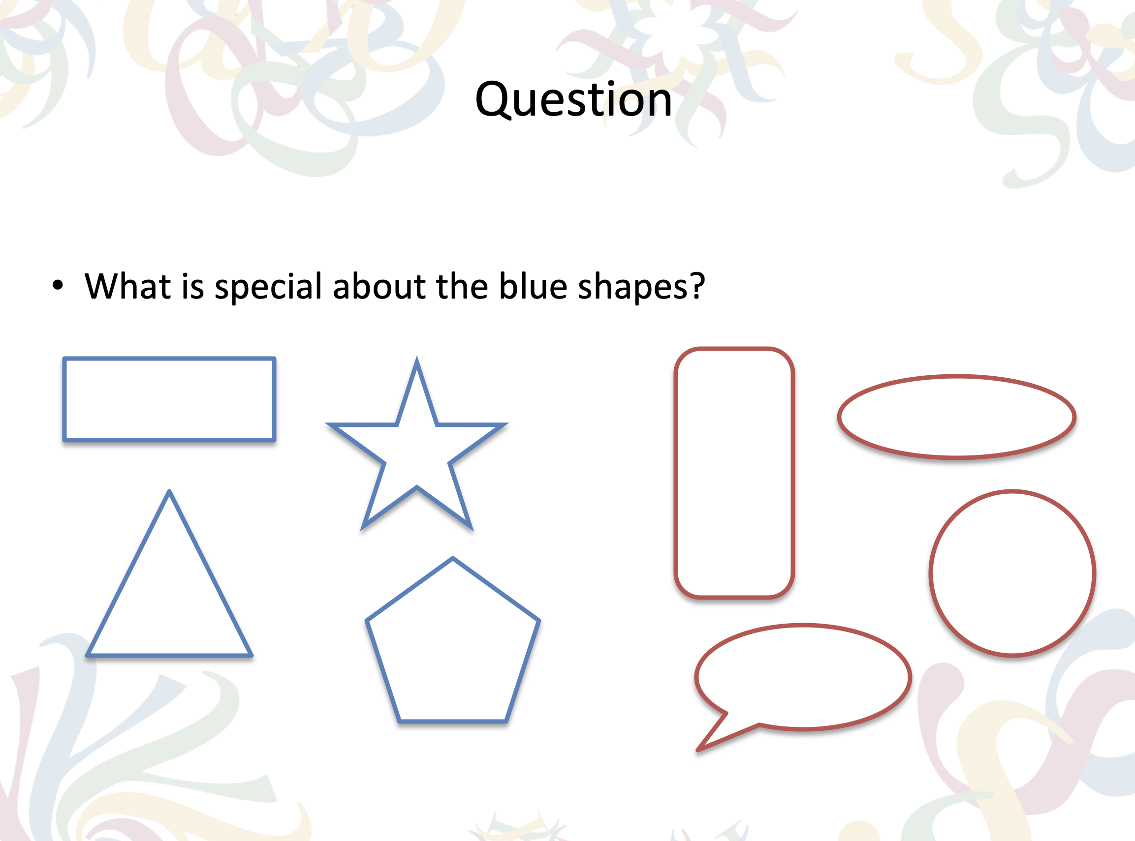 Question: What is special about the blue shapes?