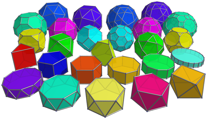 3-D shapes in multiple colors
