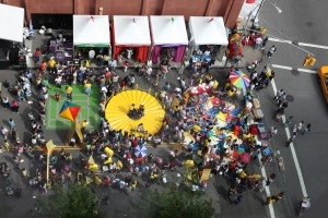 An aerial view of the Math Midway at the World Science Fair Street Festival.