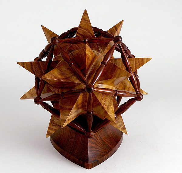 spindle icosahedron assembled around a solid great stellated dodecahedron