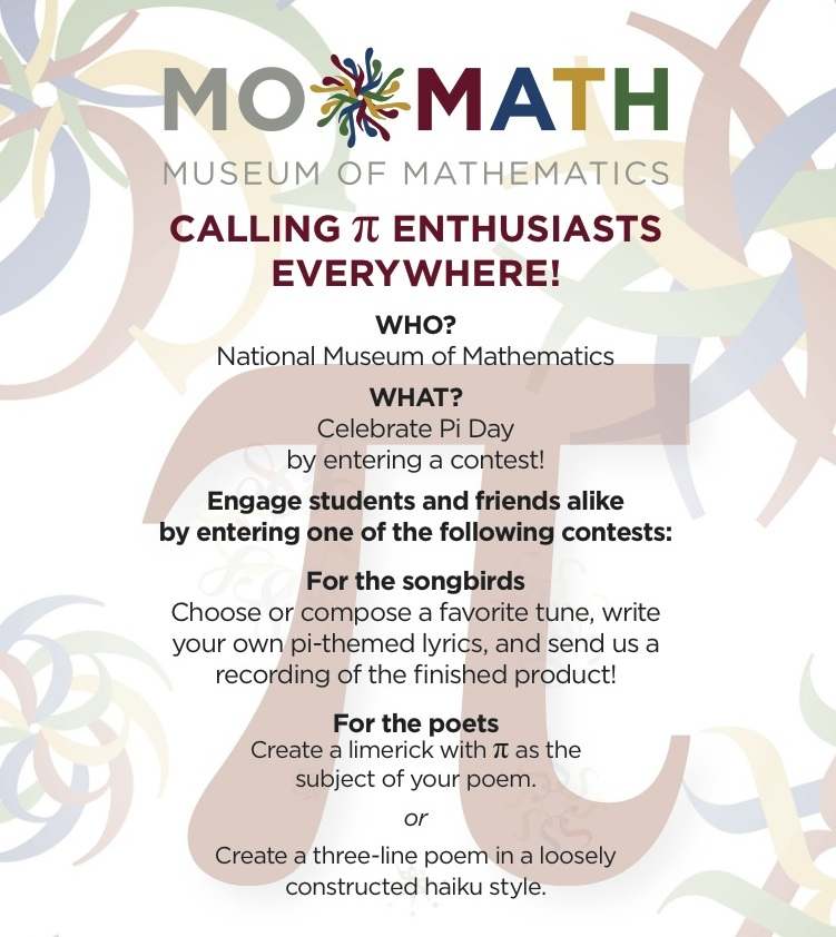 Pi Day Contest 2015 - National Museum of MathematicsNational ...