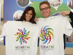 The cast of NCIS Los Angeles showing off their MoMath T-shirts (available at momath.org/shop).
